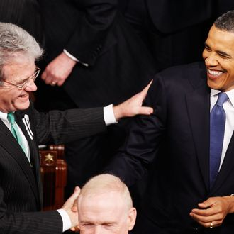 WASHINGTON, DC - JANUARY 25: U.S President Barack Obama (R) greets Senator Tom Coburn (R-OK) before the State of the Union address on Capitol Hill on January 25, 2011 in Washington, DC. During his speech Obama was expected to focus on the U.S. economy and increasing education and infrastructure funding while proposing a three-year partial freeze of domestic programs and $78 billion in military spending cuts. (Photo by Chip Somodevilla/Getty Images) *** Local Caption *** Barack Obama;Tom Coburn