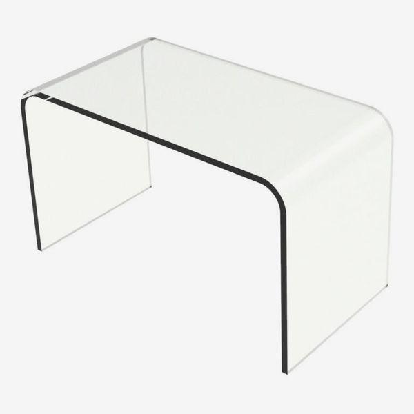 Lavish Home Acrylic Clear Modern C-Style Vertical Table