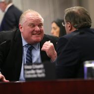 TORONTO, ON - JANUARY 22:  Mayor Rob Ford with Budget Chief, councillor Frank DiGiorgio at the Executive Committee budget meeting at City Hall in Toronto on January 22, 2014.