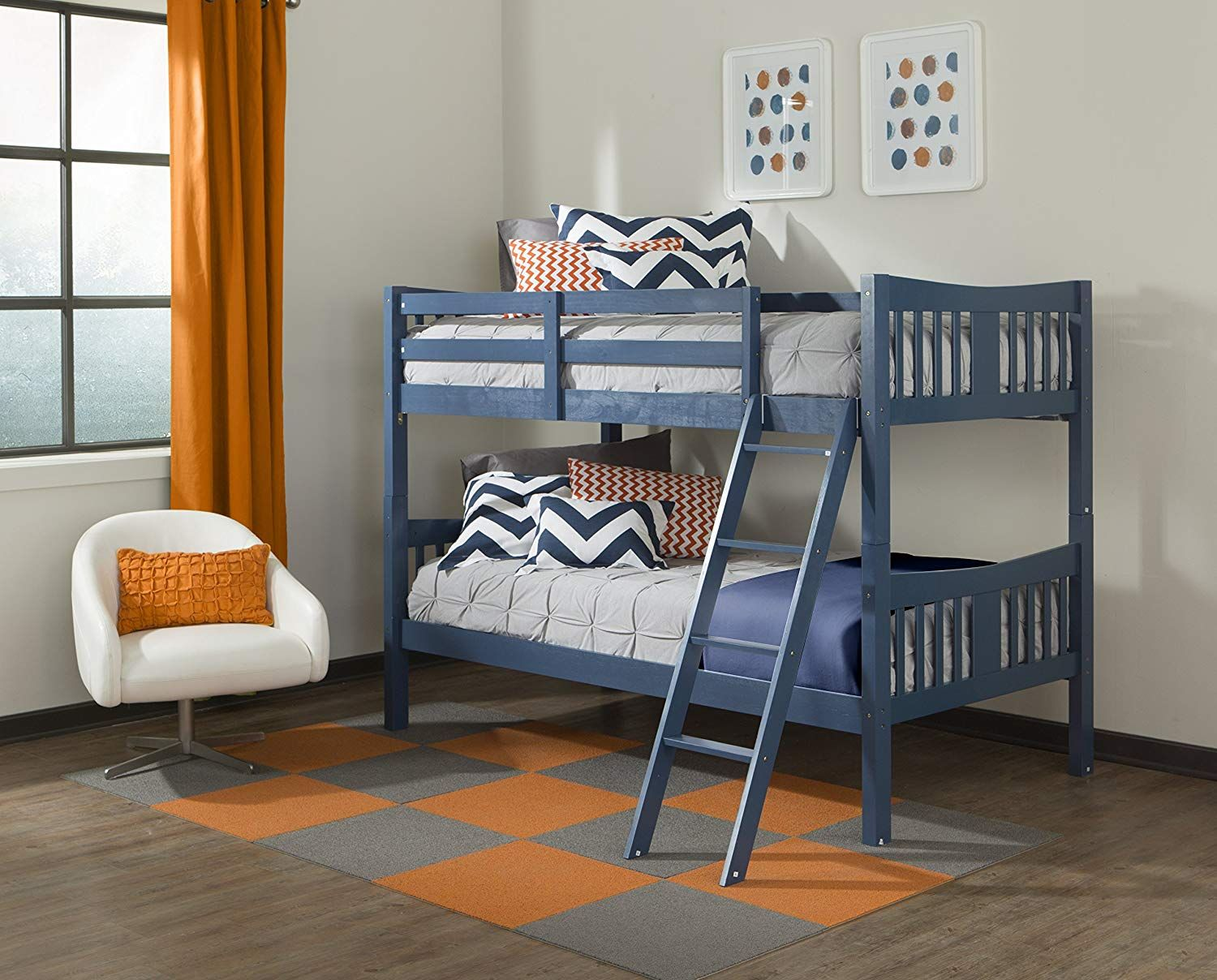 Storkcraft Caribou Solid Hardwood Twin Bunk Bed, Navy Twin Bunk Beds for Kids with Ladder