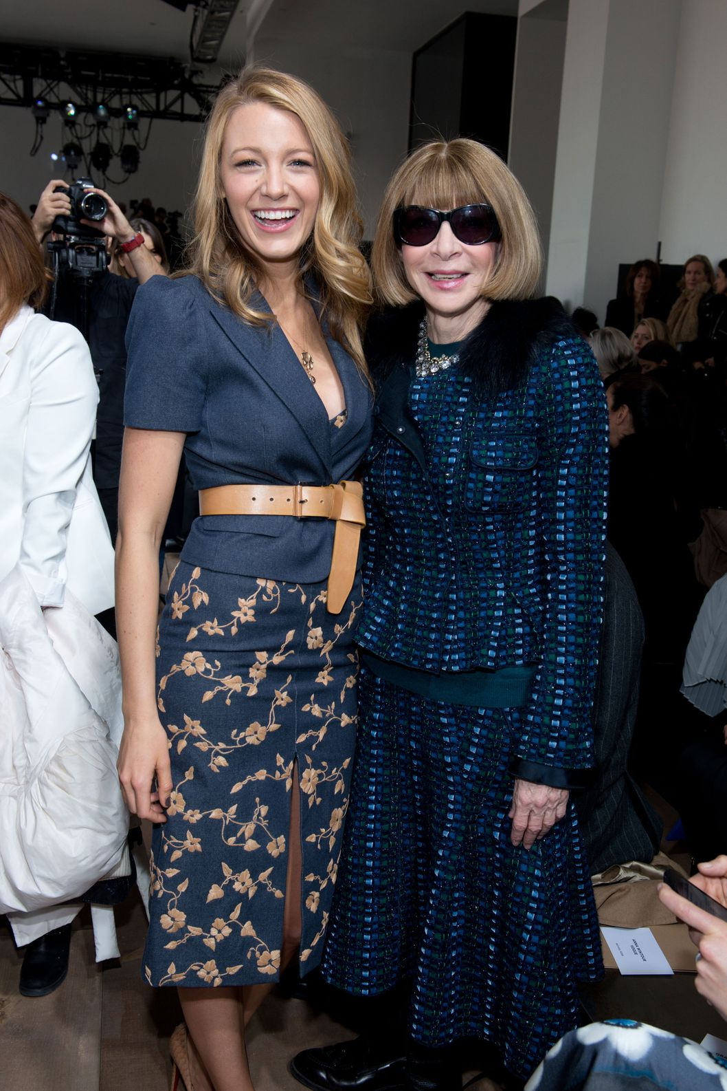 NEW YORK, NY - FEBRUARY 12: (L-R) Actress Blake Lively and Anna Wintour attend the Michael Kors Show during Mercedes-Benz Fashion Week Fall 2014 at Spring Studios on February 12, 2014 in New York City.  (Photo by Noam Galai/WireImage)