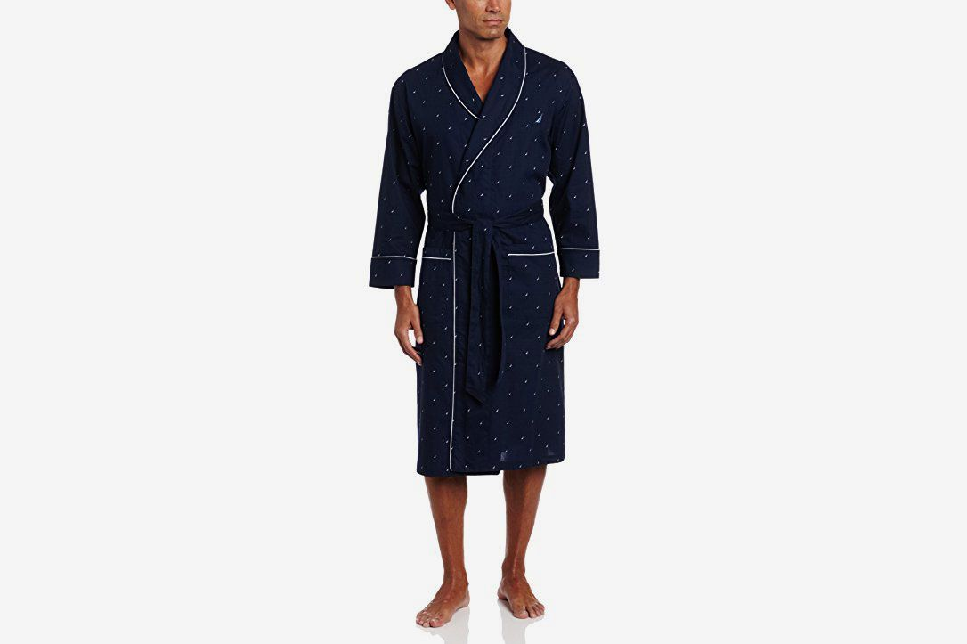 ff23fc408f Nautica Men s Long Sleeve Lightweight Cotton Woven Robe