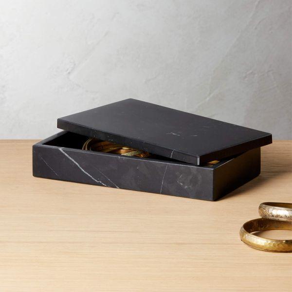 CB2 Large Black Marble Box