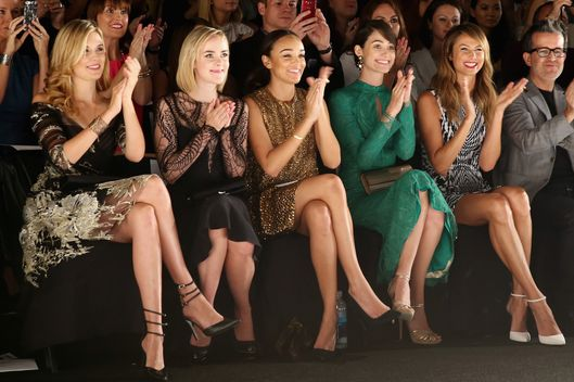 NEW YORK, NY - SEPTEMBER 07:  (L-R) Actors Maggie Grace, Jena Malone, Ashley Madekwe, Emmy Rossum and Stacy Keibler attend the Monique Lhuillier fashion show during Mercedes-Benz Fashion Week Spring 2014 at The Theatre at Lincoln Center on September 7, 2013 in New York City.  (Photo by Neilson Barnard/Getty Images for Mercedes-Benz Fashion Week Spring 2014)