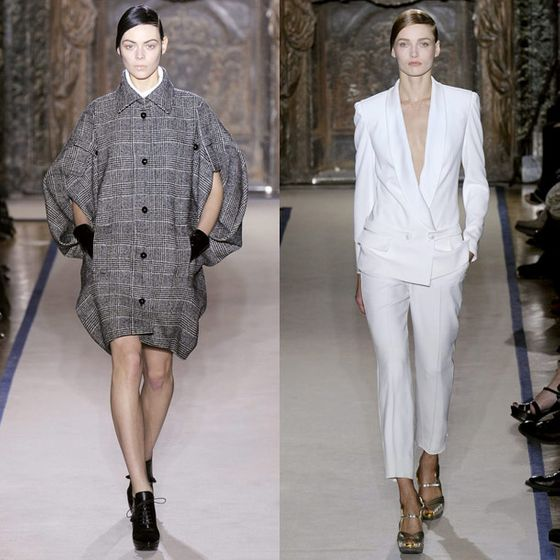 "<a href=""http://www.nytimes.com/2011/03/09/fashion/09REVIEW.html?ref=stefanopilati"">Cathy Horyn raved</a> that Pilati's ""gutsy treatment of Prince of Wales checks — for suits with open-pleated skirts, smart-looking trousers, with full-sleeved ivory satin blouses, an adorable shorts one-piece with a black fur shrug — showed surprise and finesse. Nobody else has the look for fall.""  <a href=""http://nymag.com/fashion/fashionshows/2011/fall/main/europe/womenrunway/yvessaintlaurent/"">See the Complete Fall 2011 YSL Collection</a>"