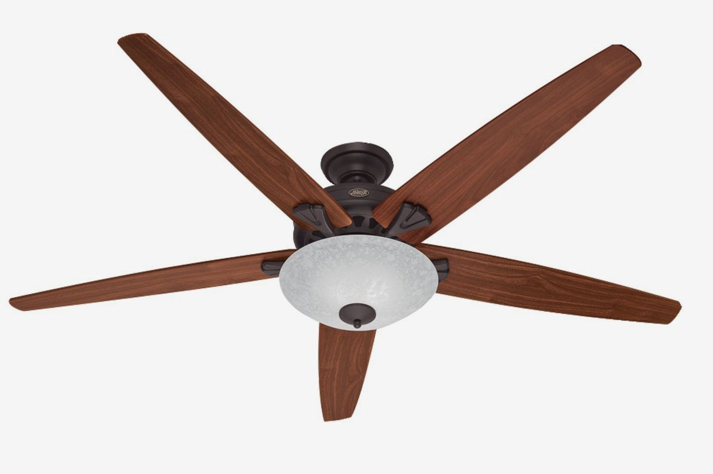 Hunter Stockbridge 70-Inch Ceiling Fan With Five Walnut/Medium Oak Blades and Light Kit, New Bronze
