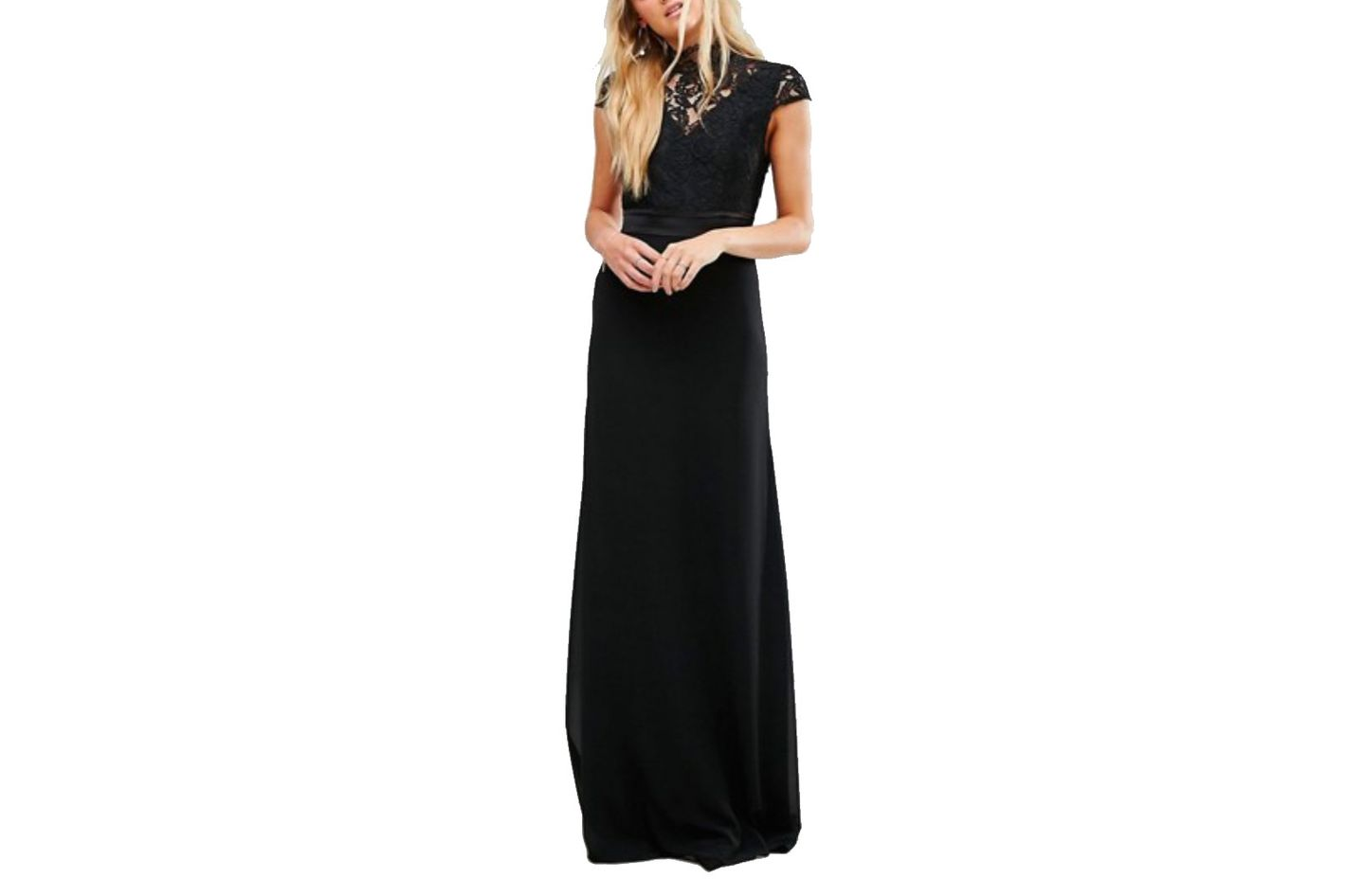 TFNC Tall High Neck Lace Maxi With Scallop Back