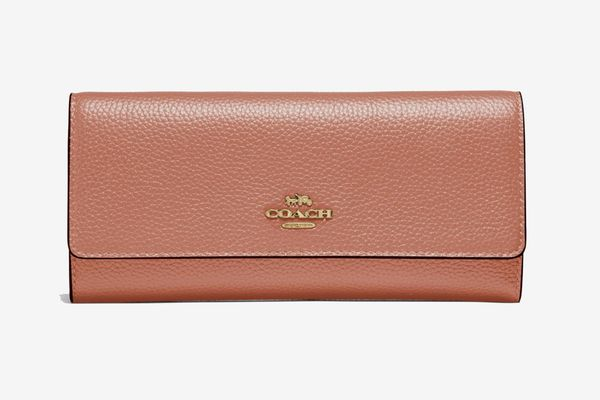 Coach Soft Trifold Wallet, Light Peach/Gold
