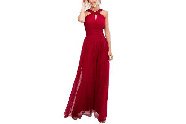 Little Mistress Tall Cross Neck Maxi Tulle Dress