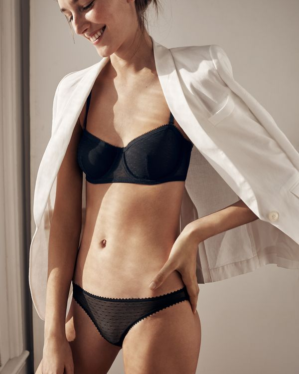 Underwire balconette bra in point d'esprit