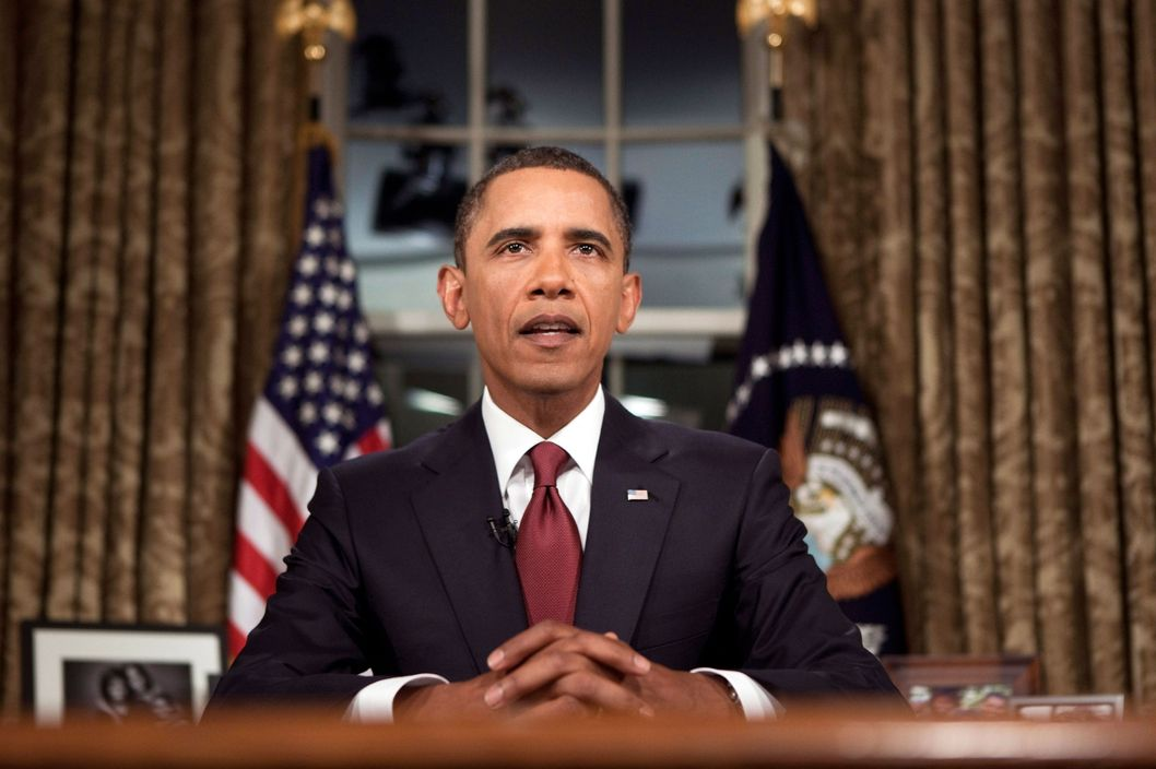 U.S. President Barack Obama speaks after a televised national address from the Oval Office of the White House August 31, 2010 in Washington, DC.