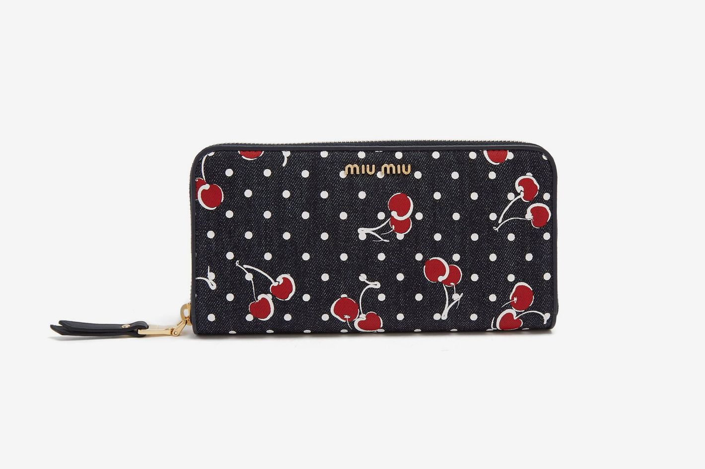 8041acb38ce1 Miu Miu Cherry-Print Denim Wallet
