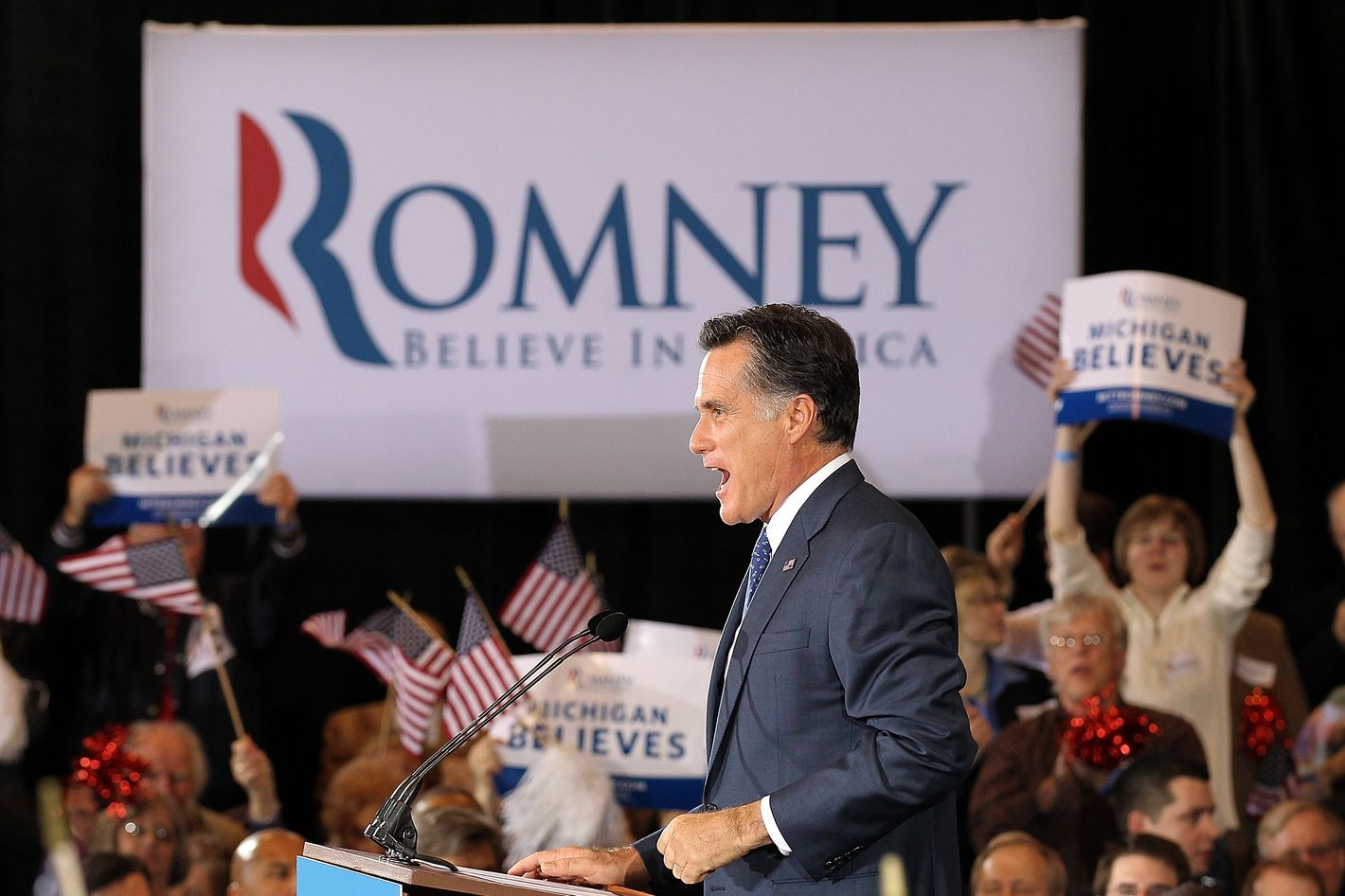 NOVI, MI - FEBRUARY 28:  Republican presidential candidate and former Massachussetts Gov. Mitt Romney speaks during a primary night gathering at the Suburban Collections Showplace on February 28, 2012 in Novi, Michigan. Romney celebrated primary victories in Arizona and Michigan.  (Photo by Justin Sullivan/Getty Images)