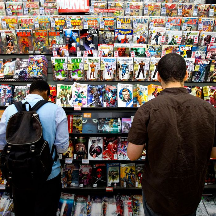 Marvel comic books sit on display at Midtown Comics in New Y