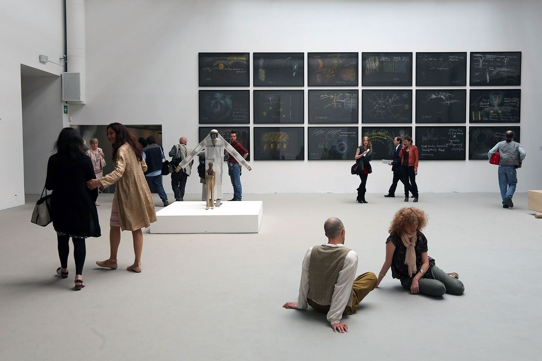 General view of the work of Tino Sehgal at Central Pavilion during the official opening of The 55th International Art Exbhibition at Giardini on June 1, 2013 in Venice, Italy. The 55th International Art Exhibition of La Biennale di Venezia will be open to the public from June 1 - November 24, 2013.