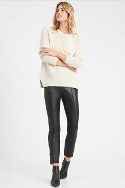 High-Rise Vegan Leather Legging with Pintuck