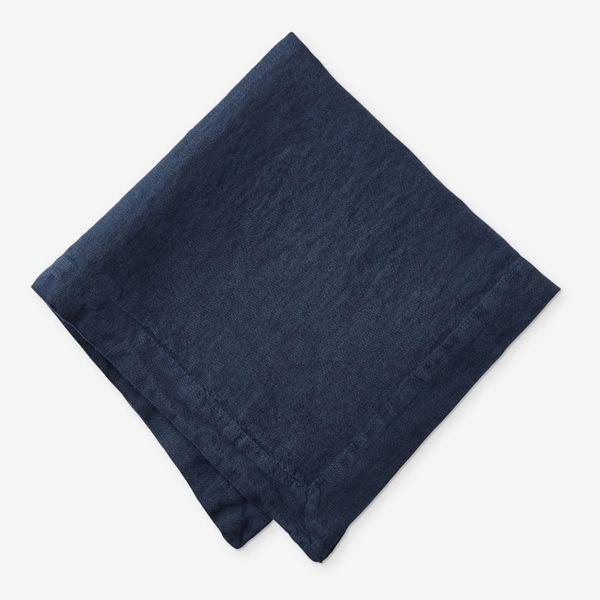 Williams Sonoma Garment Dyed Italian Linen Napkins (Set of 4, Navy)