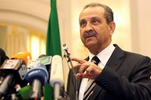 Libyan Oil Minister Shukri Ghanem speaks during a press conference in Tripoli on March 19, 2011 to announce that Libya's National Oil Corp will honour its contracts with foreign firms operating in the country. AFP PHOTO/MAHMUD TURKIA (Photo credit should read MAHMUD TURKIA/AFP/Getty Images)