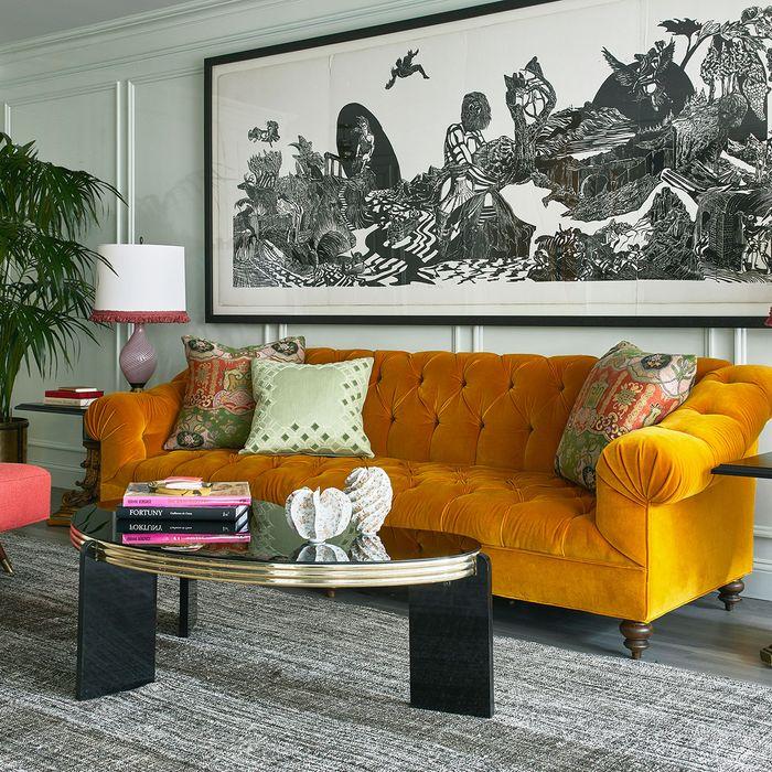 Colorful modern furniture Mini Figleeg Colorful Modern Makeover For Drab Postwar Apartment