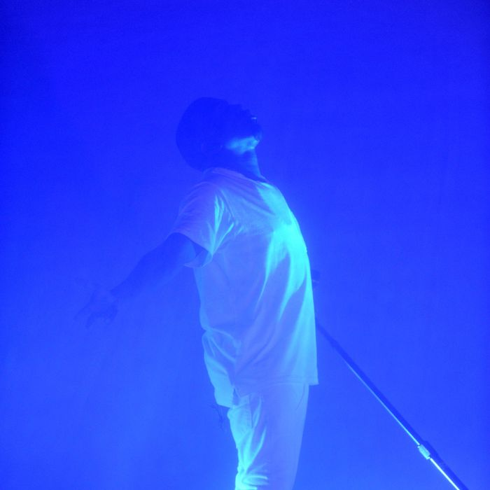 Kanye West performs onstage at the Adult Swim Upfront Party 2013 at Roseland Ballroom on May 15, 2013 in New York City.