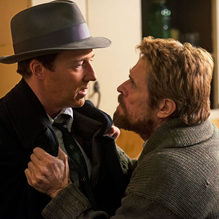 Edward Norton and Willem Dafoe in Motherless Brooklyn.