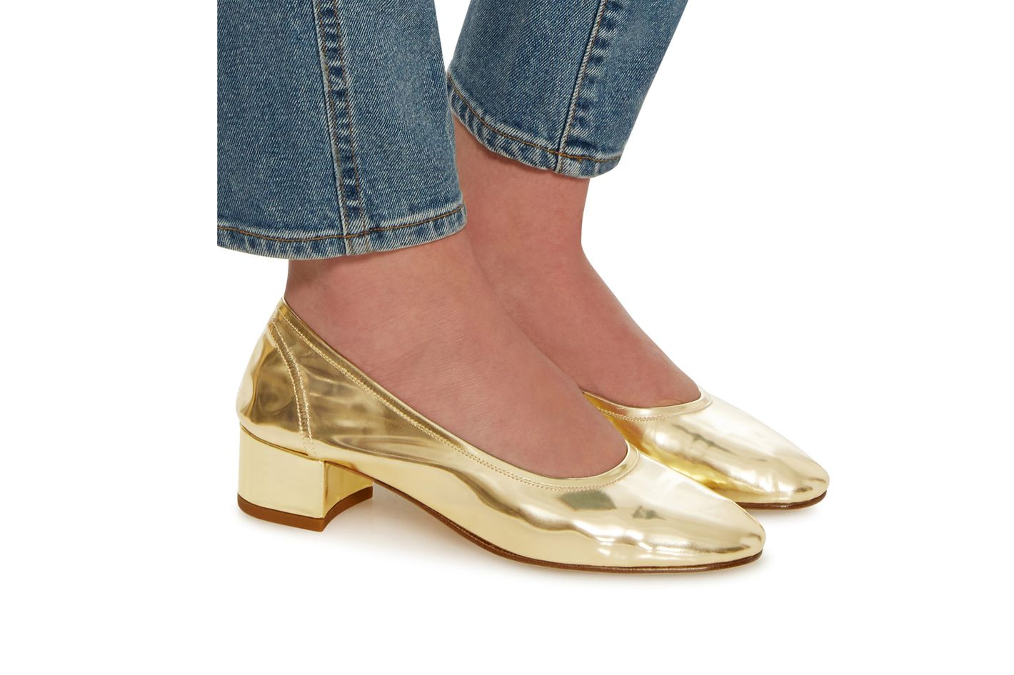 Maryam Nassir Zadeh Roberta Metallic Leather Pumps