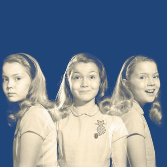 1950s 1960s multiple exposure girl going from happy to sad three facial expressions looking at camera