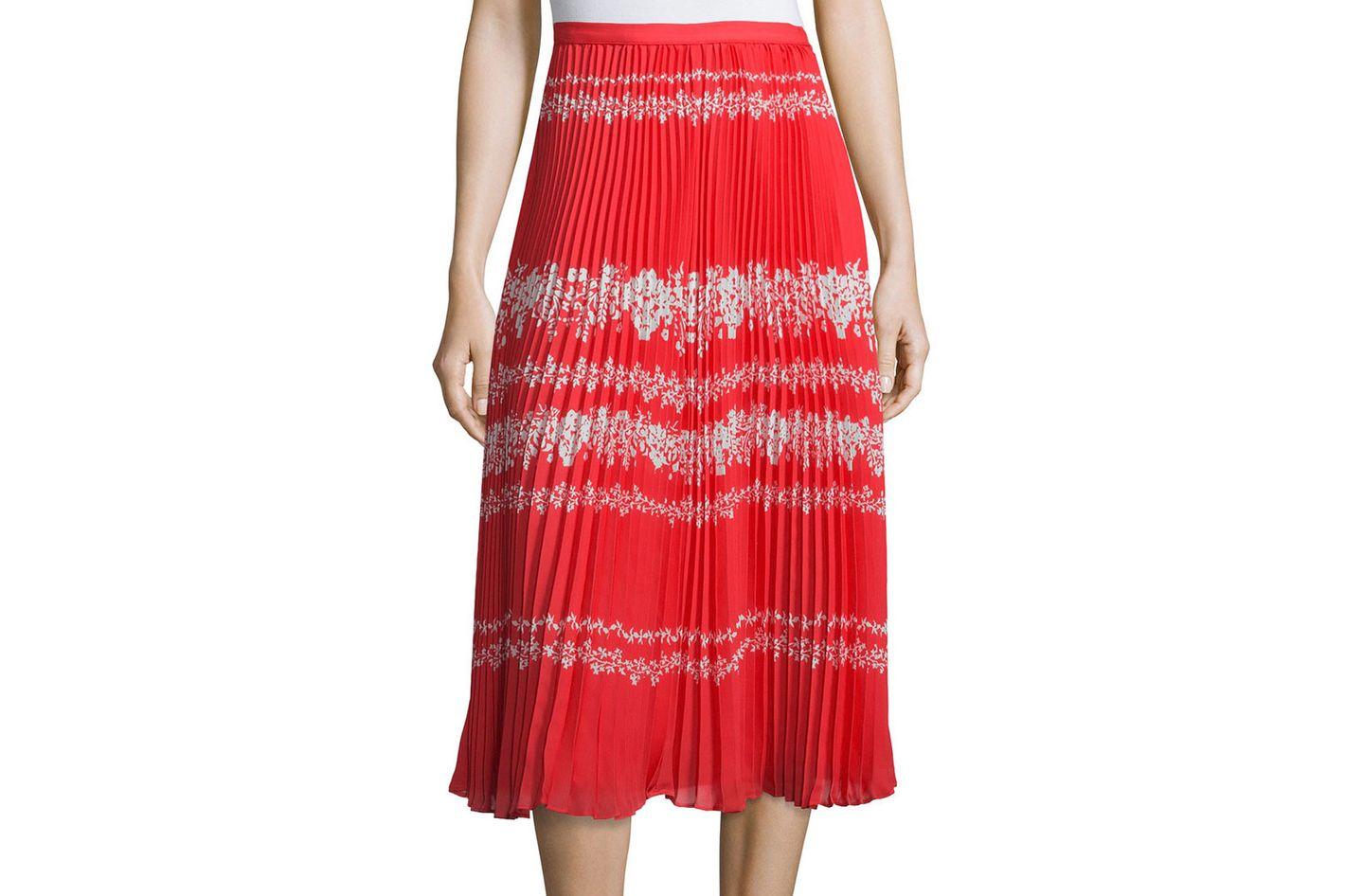 Self-Portrait Pleated Flower Spell Midi Skirt
