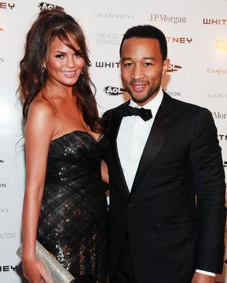 Chrissy Teigen, with boyfriend John Legend.