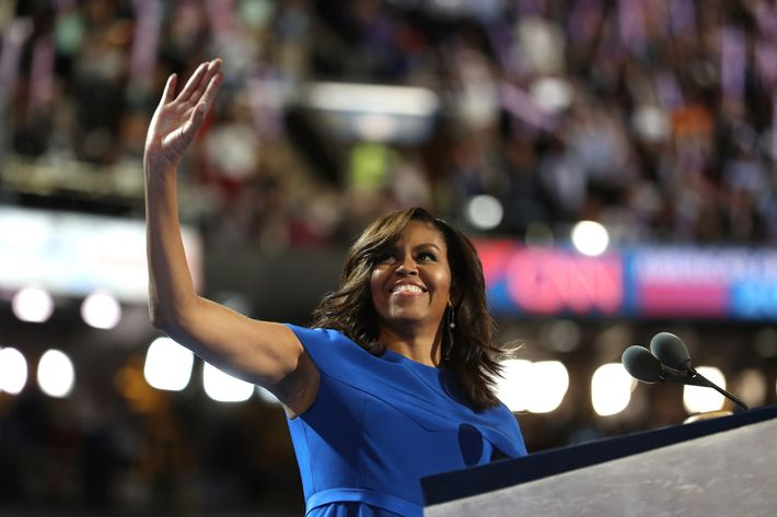 Michelle Obama speaks at the Democratic National Convention.