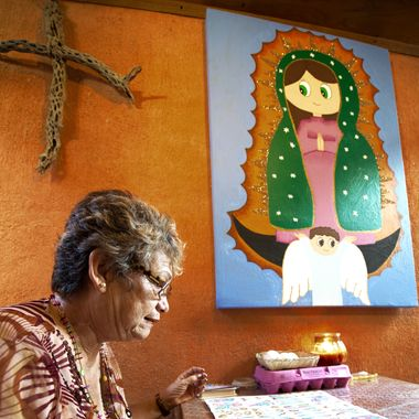 Sylvia Quintero, an astrologist and Tarot card reader, shares her visions on politics and the future from her home in a special room for card reading on June 16, 2012, in Cabo San Lucas, BCS, Mexico