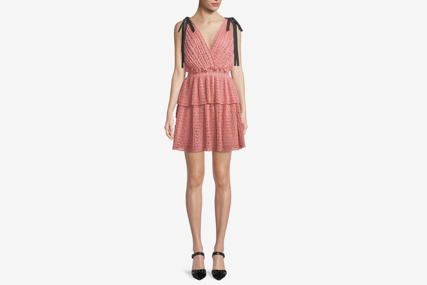 Self-Portrait Sleeveless Organza Cutwork Mini Dress