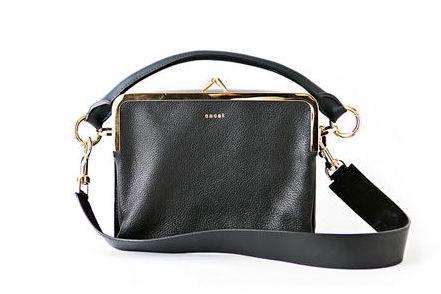 Sacai Large Leather Flap-Top Satchel Bag