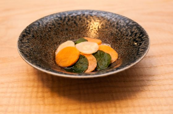 Crab salad with shiso, persimmon, cucumber, daikon