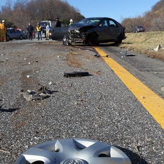 March 1, 2011; Charlottesville, Virginia, USA: A Toyota Camry and a Volvo station wagon were among the vehicles involved in a four car accident Tuesday morning at mile marker 104 near the VDOT Workers Memorial on I-64.
