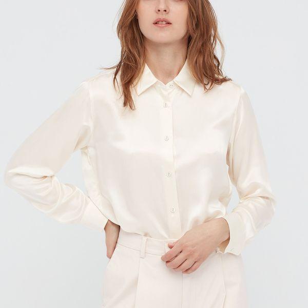 Women Ines Silk Long-Sleeved Blouse
