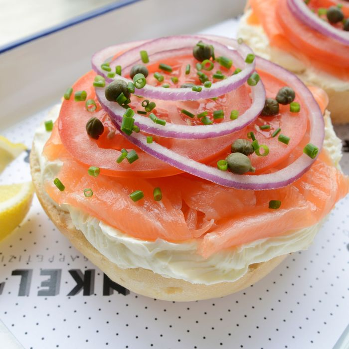 A bagel with the works from Frankel's Delicatessen & Appetizing.
