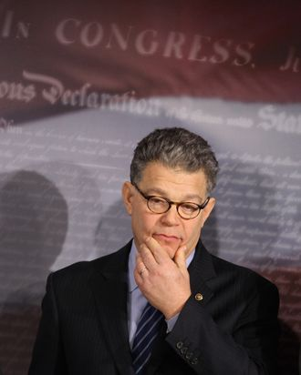 Sen. Al Franken (D-MN) participates in a news conference after helping move a repeal of the Defense of Marriage Act out of the Judiciary Committee at the U.S. Captiol November 10, 2011 in Washington, DC. The Senate Judiciary Committee voted along party lines Thursday to repeal the Defense of Marriage Act, which was signed by President Bill Clinton in 1996.