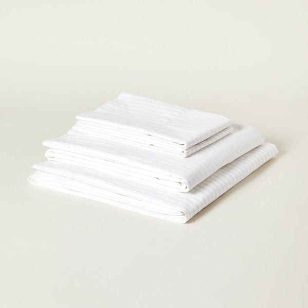 Boll & Branch Percale Simple Stripe Organic Cotton Sheet Set, Queen