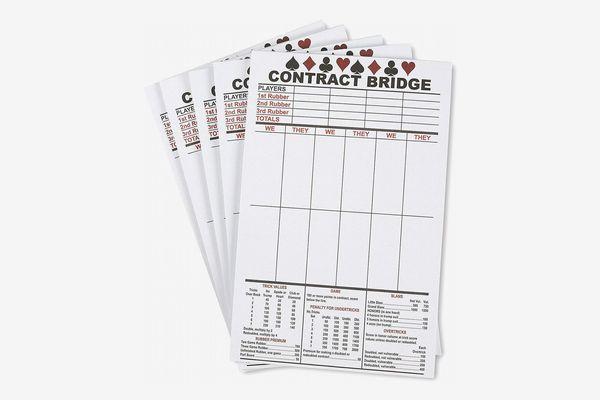 Bridge Score Card — 5-Pack Contract Bridge Score Notepads