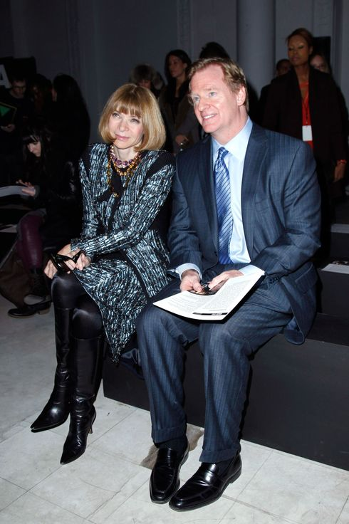 Anna Wintour (L) and Roger Goodell, NFL Commissioner, attend the Kimberly Ovitz show during Fall 2013 Mercedes-Benz Fashion Week at Cafe Rouge on February 7, 2013 in New York City.