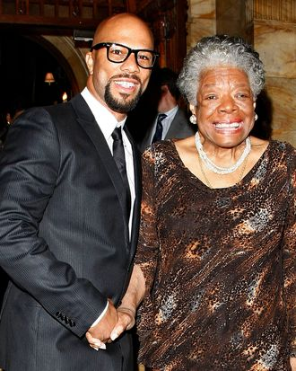 NEW YORK - OCTOBER 27: Rapper Common and writer/poet Maya Angelou attend The Edmont Society Affair: A Benefit for Readers & Writers at The Friars Club on October 27, 2008 in New York City. (Photo by Brian Ach/WireImage)