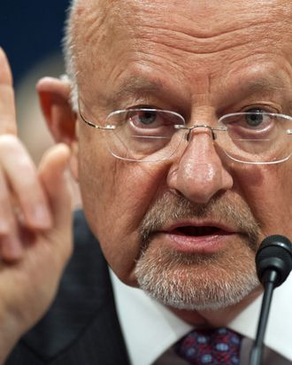 US Director of National Intelligence James Clapper testifies before the House Select Intelligence Committee on Capitol Hill in Washington, DC, on April 11, 2013. Clapper told Congress that cyberattacks and cyberspying are the leading threats to US security.