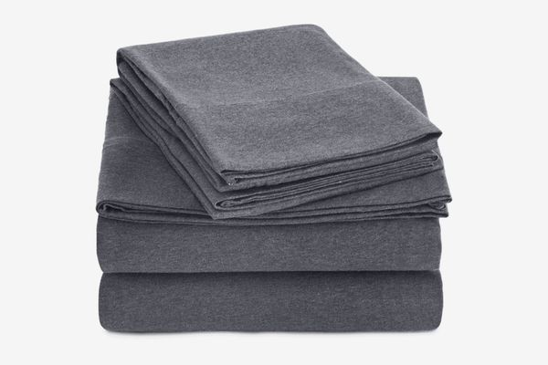 AmazonBasics Heather Jersey Sheet Set — Queen, Dark Gray