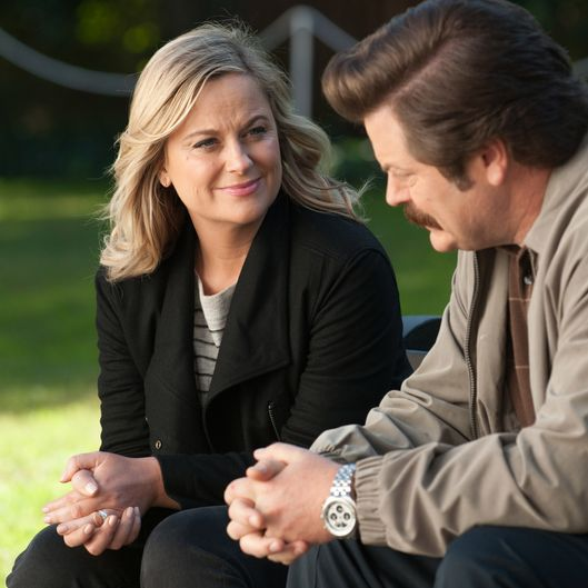 "PARKS AND RECREATION -- ""One Last Ride"" Episode 712/713 -- Pictured: (l-r) Amy Poehler as Leslie Knope, Nick Offerman as Ron Swanson -- (Photo by: Colleen Hayes/NBC)"