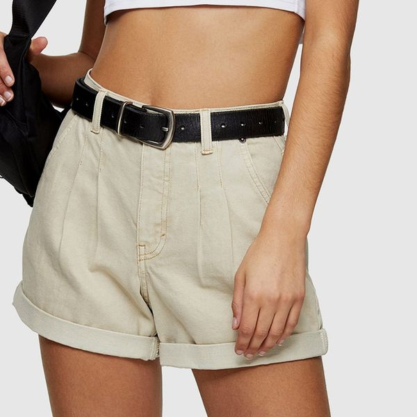 Topshop CONSIDERED Sand Balloon High Waist Denim Shorts