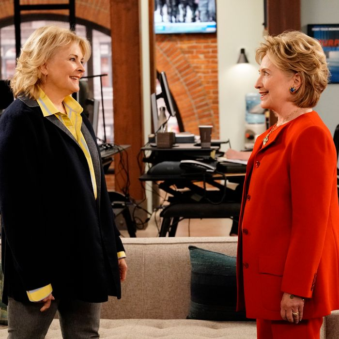 Candice Bergen as Murphy Brown and Hillary Clinton as