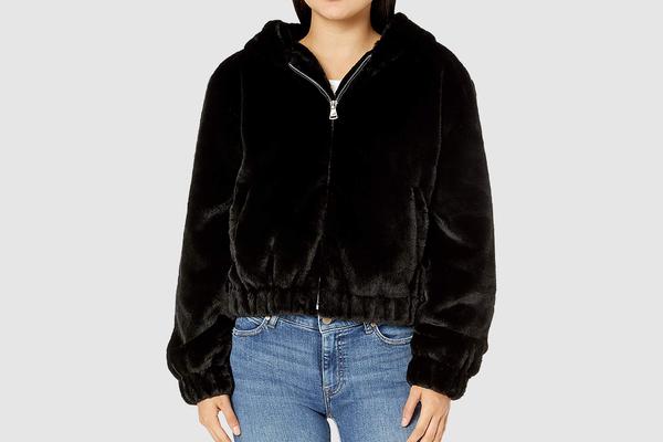 The Drop Sloane Faux Fur Hooded Bomber Jacket