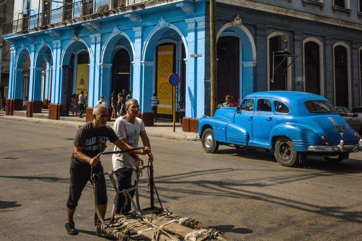 The facade of the H. Upmann Cigar Factory of Havana, on February 27, 2014.