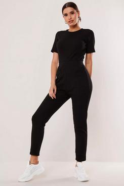 Missguided Tall Black Jersey Rib Pocket Front Jumpsuit